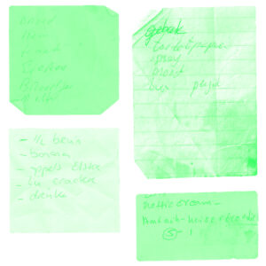 shopping lists in duotone green