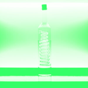 bottle on bar in duotone green
