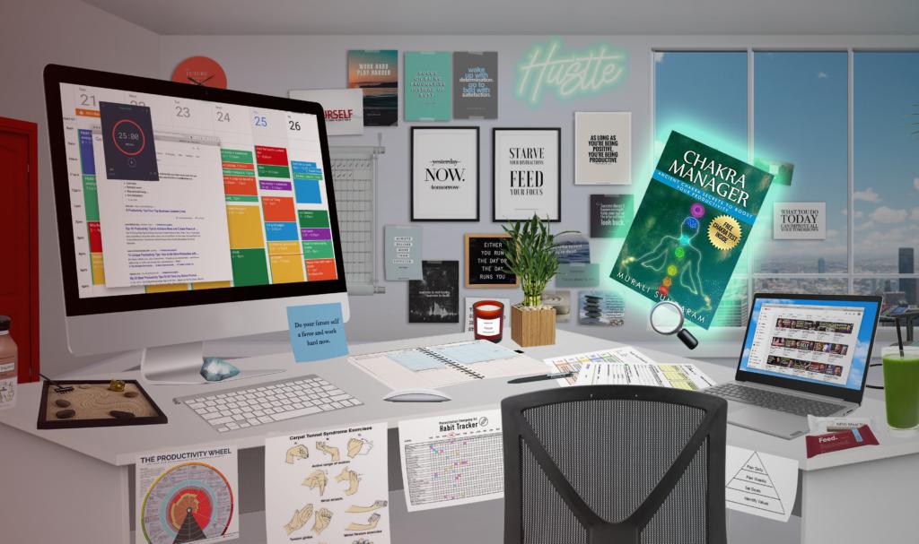 Virtuele studeerkamer uit online game.