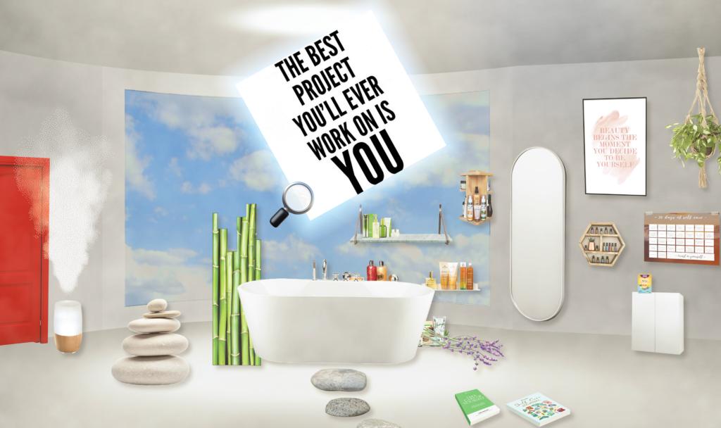 Virtuele badkamer uit online game.