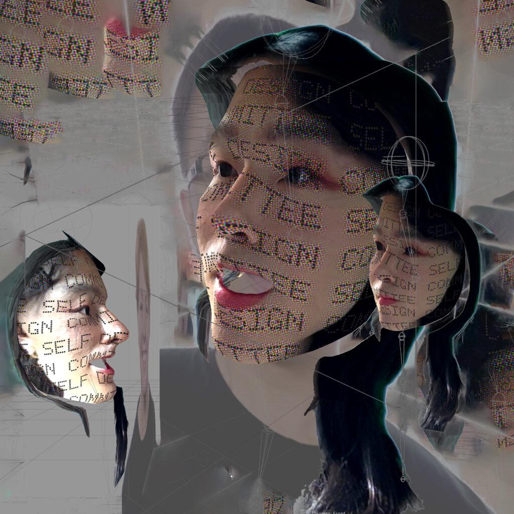 Verschillende gezichten met facefilters, als maskers met elkaar in gesprek.